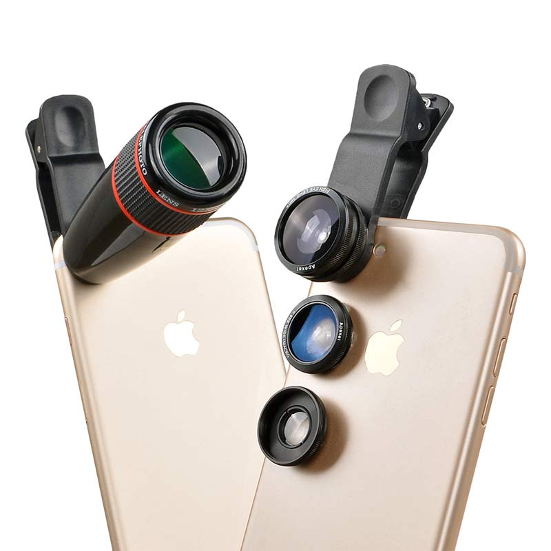 5 in 1 mobile lens kit 12x zoom fisheye wide angle macro for Fenetre zoom iphone x