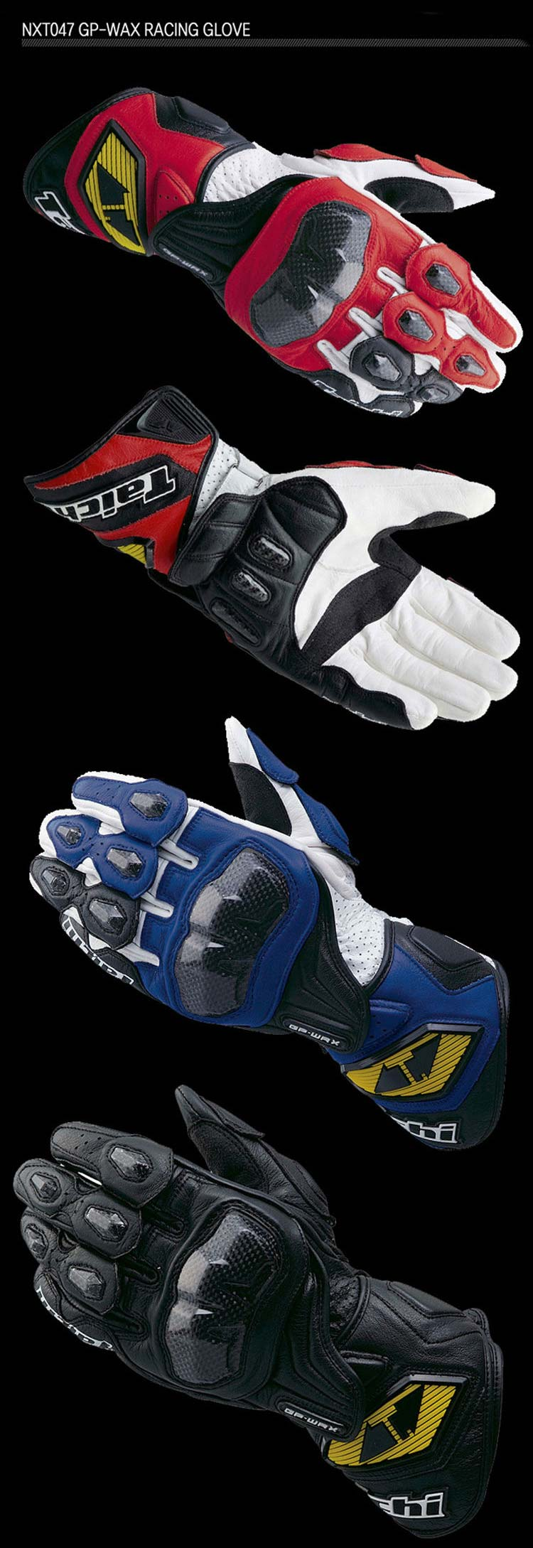 Japanese leather motorcycle gloves - Rs Taichi Nxt 047 Gp Wrx Racing Gloves