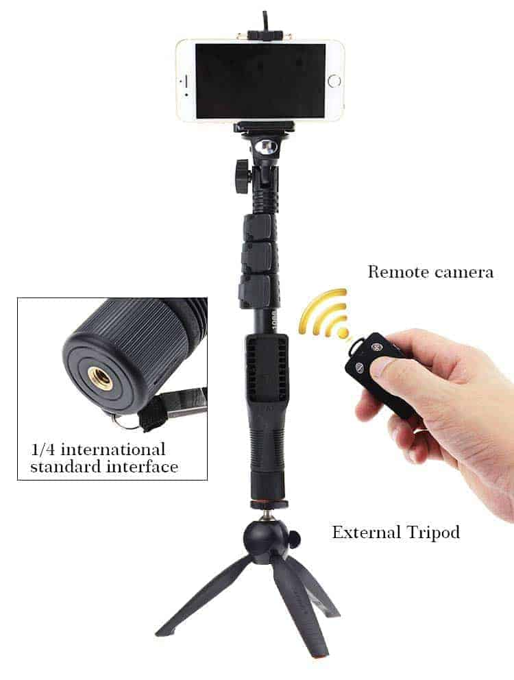professional selfie monopod shutter remote bluetooth. Black Bedroom Furniture Sets. Home Design Ideas