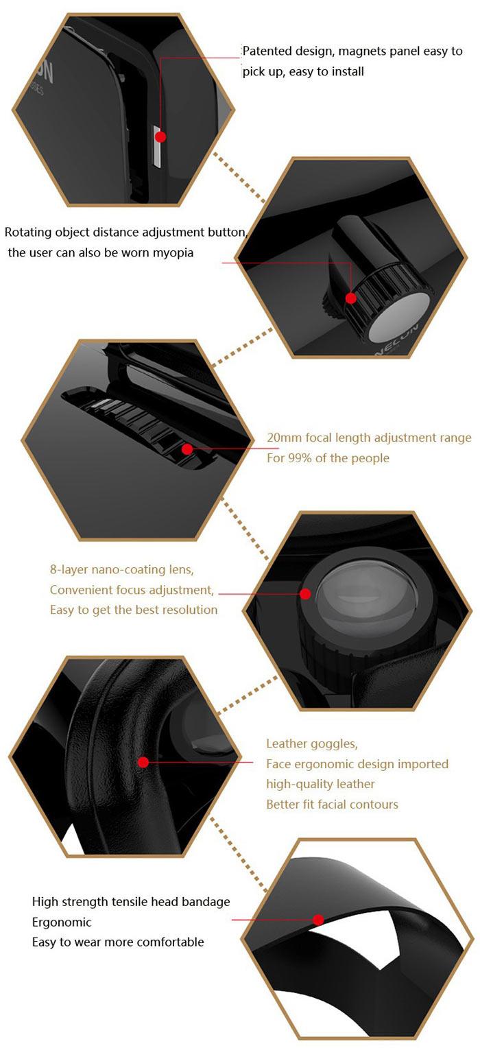VR SHINECON - Premium 3D Virtual Reality Goggles Headset