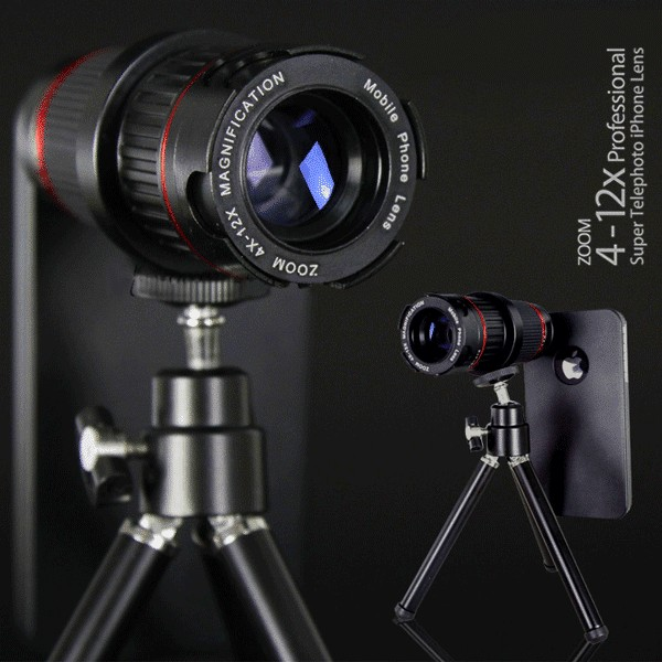 4-12X Zoom Super Telephoto iPhone DSLR Lens with Tripod Stand