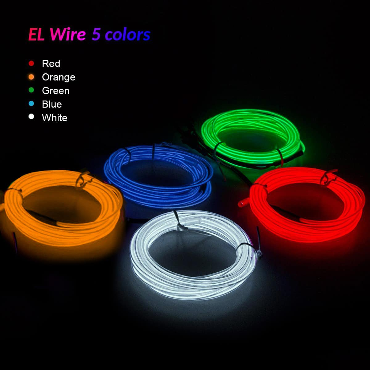 Glow Light Mode EL Wire Kit - 10 Foot High Brightness Light