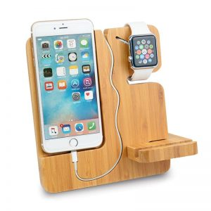 Wooden iPhone Charging Dock + Apple Watch Stand