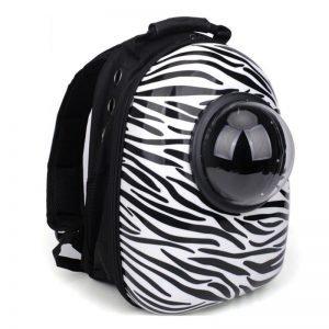 cat bubble backpack zebra pattern