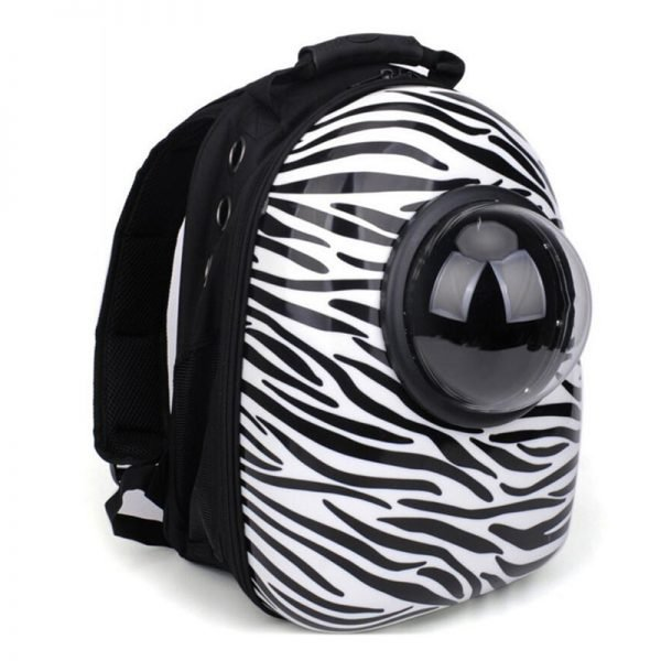 cat bubble backpack zebra pattern